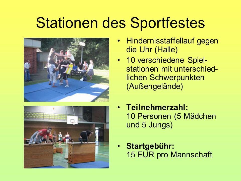 Stationen des Sportfestes Hindernisstaffellauf gegen die Uhr (Halle) 10 verschiedene Spiel- stationen mit unterschied- lichen Schwerpunkten (Außengelä