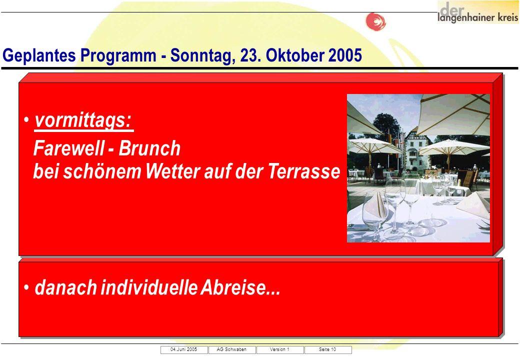 04.Juni 2005AG SchwabenVersion 1Seite 10 Geplantes Programm - Sonntag, 23. Oktober 2005 danach individuelle Abreise... vormittags: Farewell - Brunch b