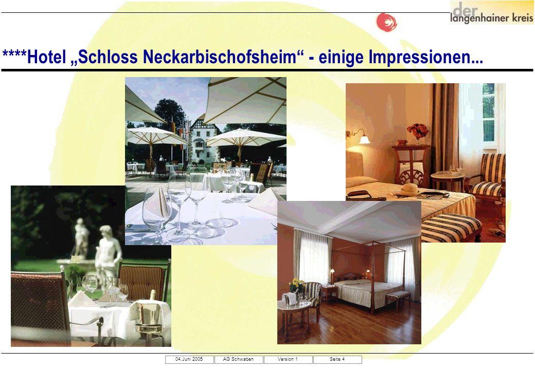 04.Juni 2005AG SchwabenVersion 1Seite 4 ****Hotel Schloss Neckarbischofsheim - einige Impressionen...