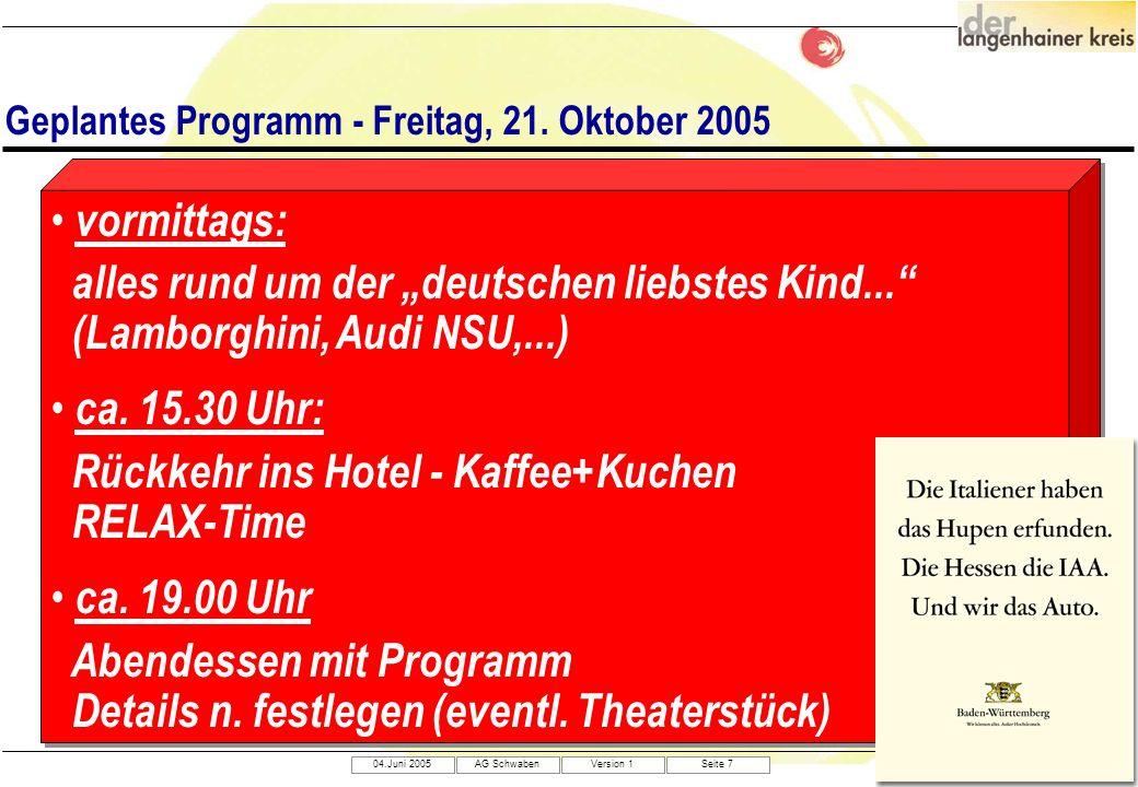 04.Juni 2005AG SchwabenVersion 1Seite 7 Geplantes Programm - Freitag, 21. Oktober 2005 vormittags: alles rund um der deutschen liebstes Kind... (Lambo