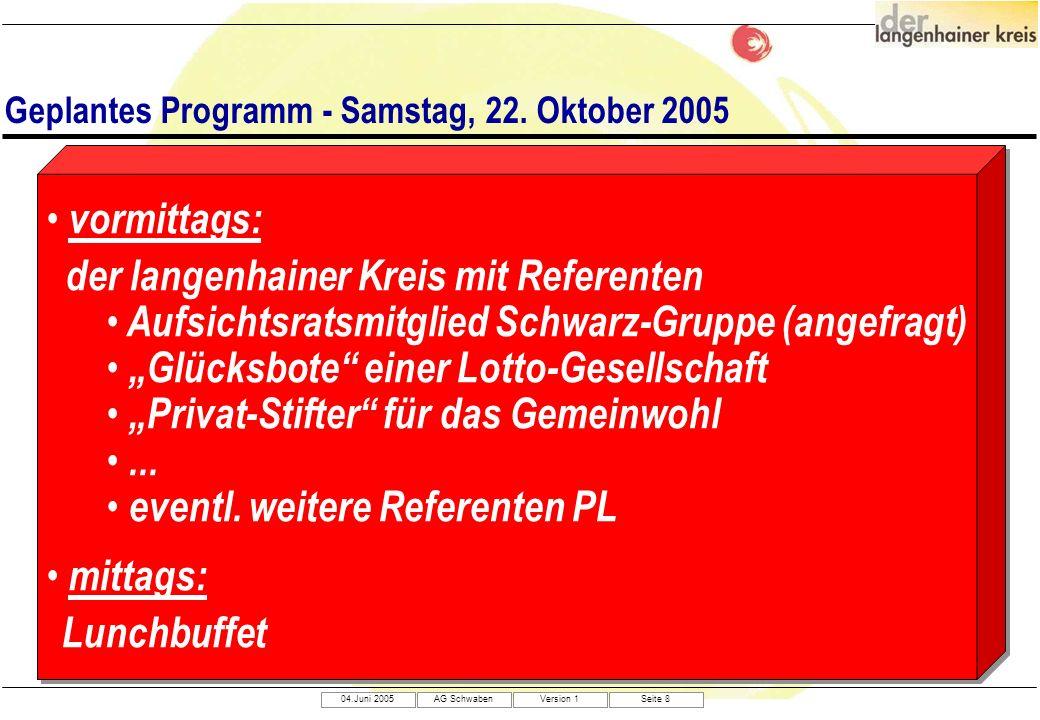 04.Juni 2005AG SchwabenVersion 1Seite 8 Geplantes Programm - Samstag, 22. Oktober 2005 vormittags: der langenhainer Kreis mit Referenten Aufsichtsrats