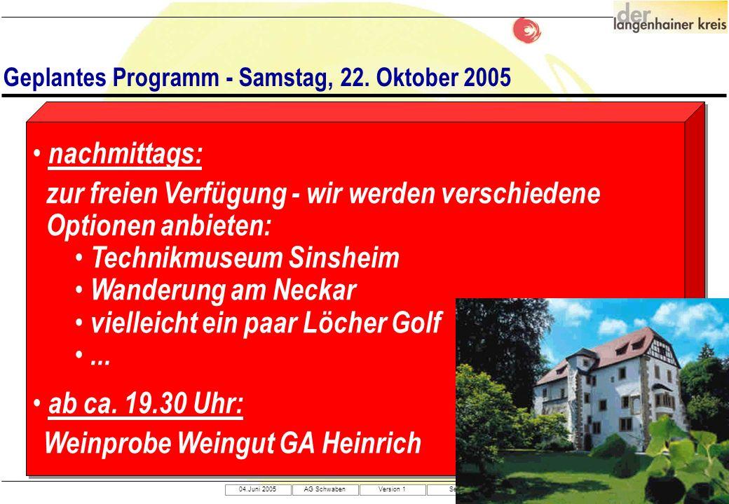 04.Juni 2005AG SchwabenVersion 1Seite 9 Geplantes Programm - Samstag, 22. Oktober 2005 nachmittags: zur freien Verfügung - wir werden verschiedene Opt
