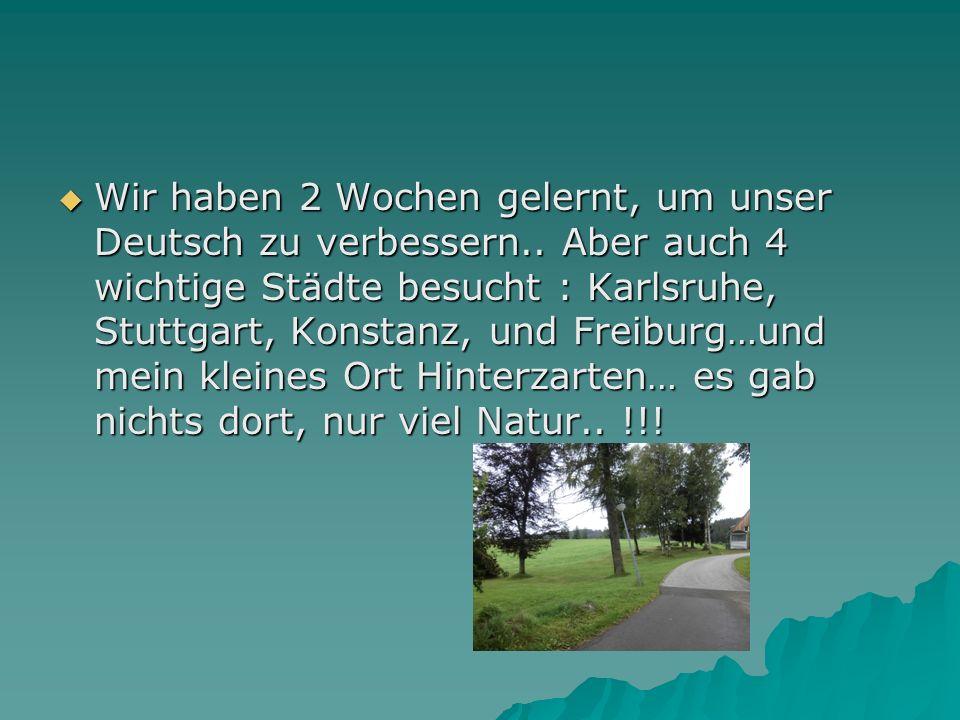 Wir haben 2 Wochen gelernt, um unser Deutsch zu verbessern.. Aber auch 4 wichtige Städte besucht : Karlsruhe, Stuttgart, Konstanz, und Freiburg…und me