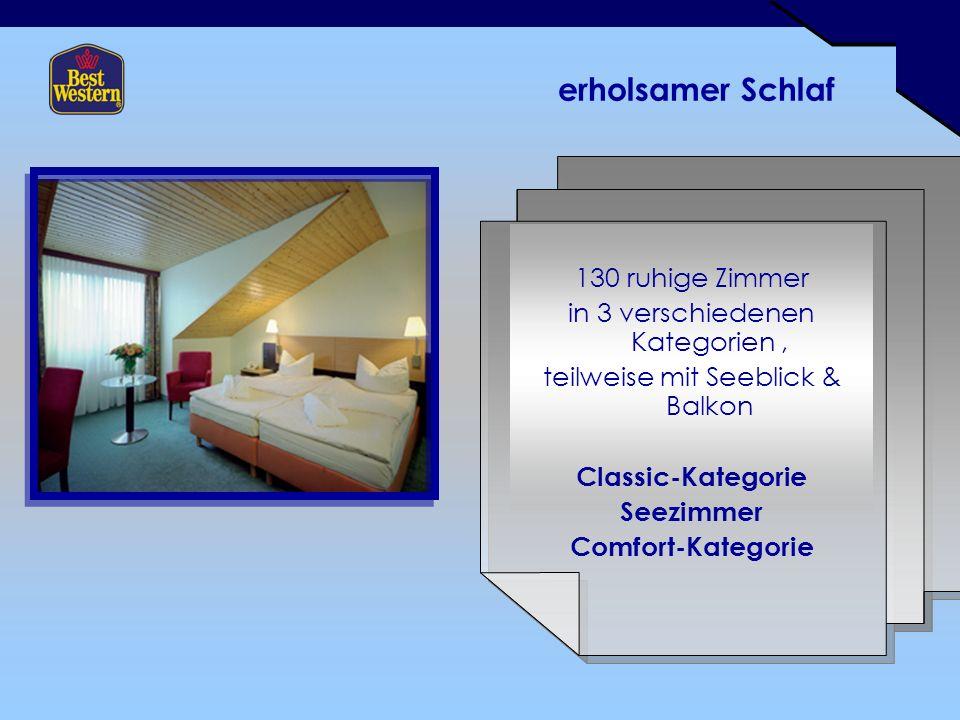 erholsamer Schlaf 130 ruhige Zimmer in 3 verschiedenen Kategorien, teilweise mit Seeblick & Balkon Classic-Kategorie Seezimmer Comfort-Kategorie