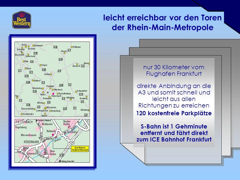 leicht erreichbar vor den Toren der Rhein-Main-Metropole nur 30 Kilometer vom Flughafen Frankfurt direkte Anbindung an die A3 und somit schnell und leicht aus allen Richtungen zu erreichen 120 kostenfreie Parkplätze S-Bahn ist 1 Gehminute entfernt und fährt direkt zum ICE Bahnhof Frankfurt