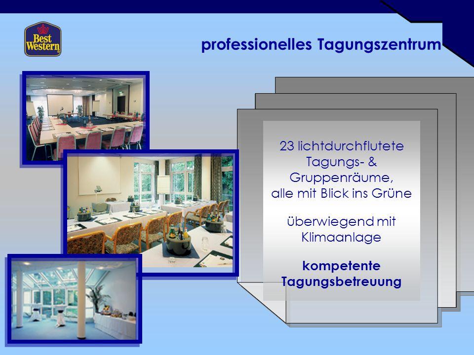 professionelles Tagungszentrum 23 lichtdurchflutete Tagungs- & Gruppenräume, alle mit Blick ins Grüne überwiegend mit Klimaanlage kompetente Tagungsbetreuung