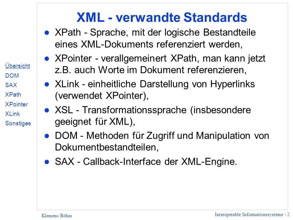 Interoperable Informationssysteme - 3 Klemens Böhm XML - verwandte Standards XLink XPointer XSL XPath DOM SAX Übersicht DOM SAX XPath XPointer XLink Sonstiges