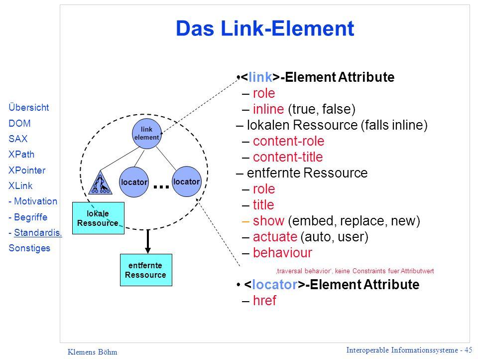 Interoperable Informationssysteme - 45 Klemens Böhm locator Das Link-Element -Element Attribute – role – inline (true, false) – lokalen Ressource (falls inline) – content-role – content-title – entfernte Ressource – role – title – show (embed, replace, new) – actuate (auto, user) – behaviour traversal behavior, keine Constraints fuer Attributwert -Element Attribute – href locator link element...