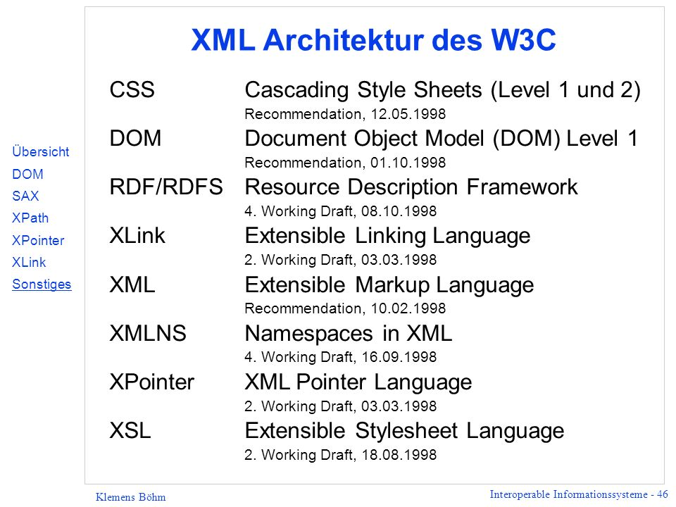Interoperable Informationssysteme - 46 Klemens Böhm XML Architektur des W3C CSSCascading Style Sheets (Level 1 und 2) Recommendation, 12.05.1998 DOMDo