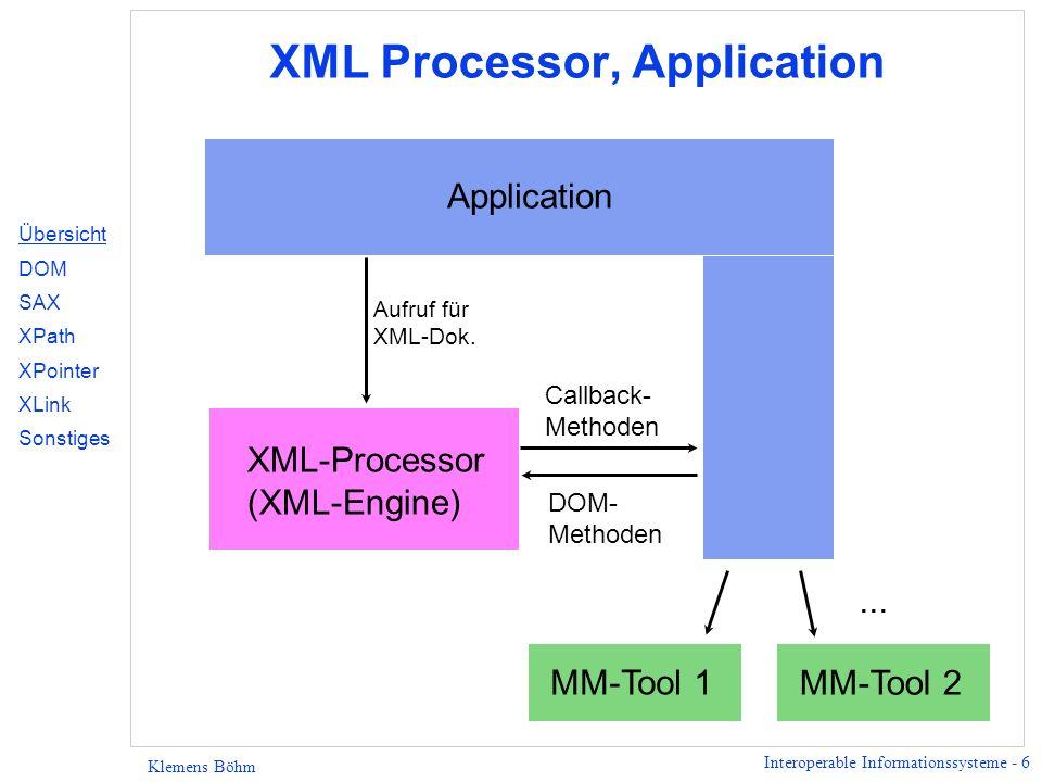 Interoperable Informationssysteme - 27 Klemens Böhm XPath - Einbettung in URL Beispiel: href=doc.xml#xpointer(book/chapter [position() <= 5]) Übersicht DOM SAX XPath XPointer XLink Sonstiges