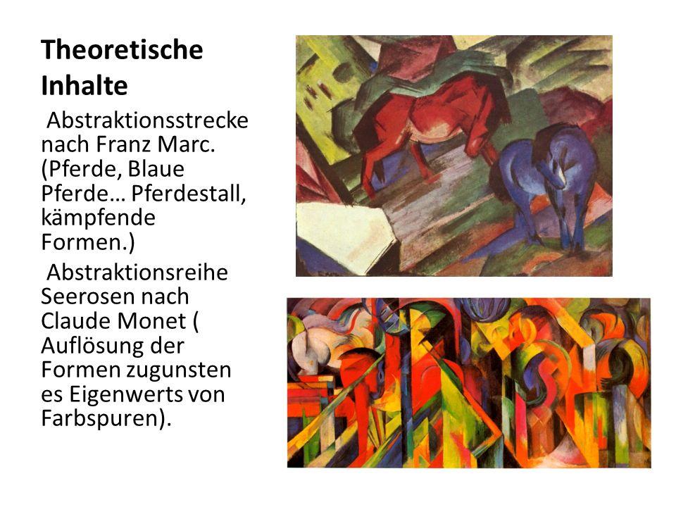 Theoretische Inhalte Abstraktionsstrecke nach Franz Marc. (Pferde, Blaue Pferde… Pferdestall, kämpfende Formen.) Abstraktionsreihe Seerosen nach Claud