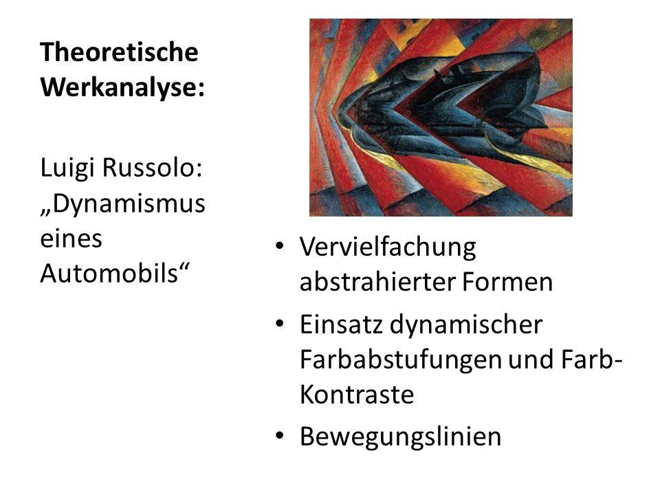 Theoretische Werkanalyse: Vervielfachung abstrahierter Formen Einsatz dynamischer Farbabstufungen und Farb- Kontraste Bewegungslinien Luigi Russolo: D