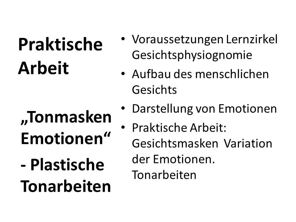 Praktische Arbeit Voraussetzungen Lernzirkel Gesichtsphysiognomie Aufbau des menschlichen Gesichts Darstellung von Emotionen Praktische Arbeit: Gesich