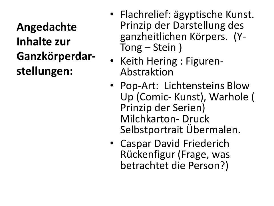 Angedachte Inhalte zur Ganzkörperdar- stellungen: Flachrelief: ägyptische Kunst. Prinzip der Darstellung des ganzheitlichen Körpers. (Y- Tong – Stein