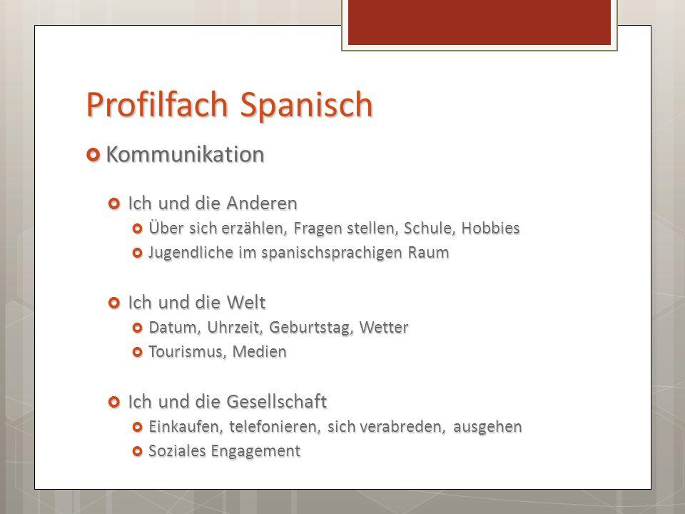 Profilfach Spanisch Kompetenz Kompetenz Sprechen Lesen Hören Schreiben