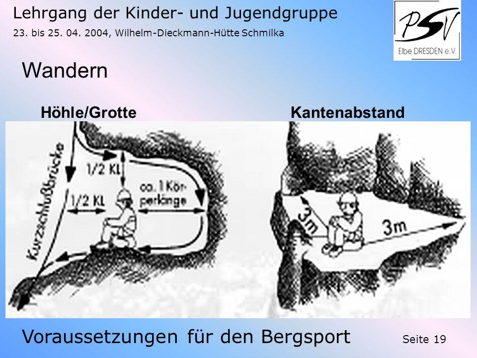 Lehrgang der Kinder- und Jugendgruppe 23. bis 25. 04. 2004, Wilhelm-Dieckmann-Hütte Schmilka Seite 19 Wandern Voraussetzungen für den Bergsport Höhle/