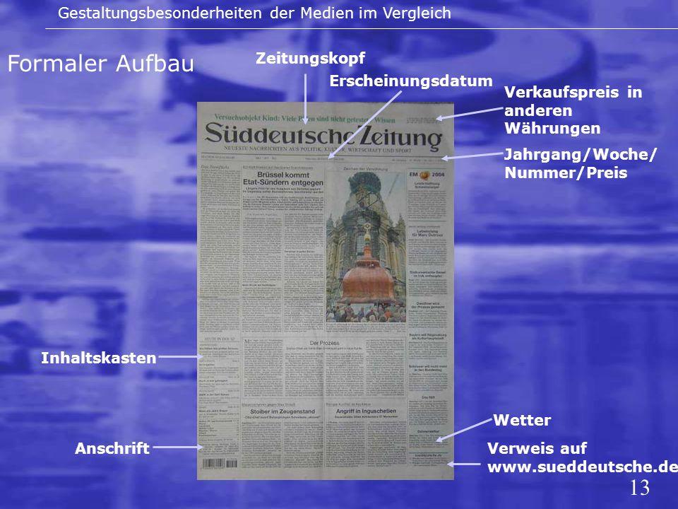 13 Formaler Aufbau Gestaltungsbesonderheiten der Medien im Vergleich Zeitungskopf Erscheinungsdatum Verkaufspreis in anderen Währungen Jahrgang/Woche/