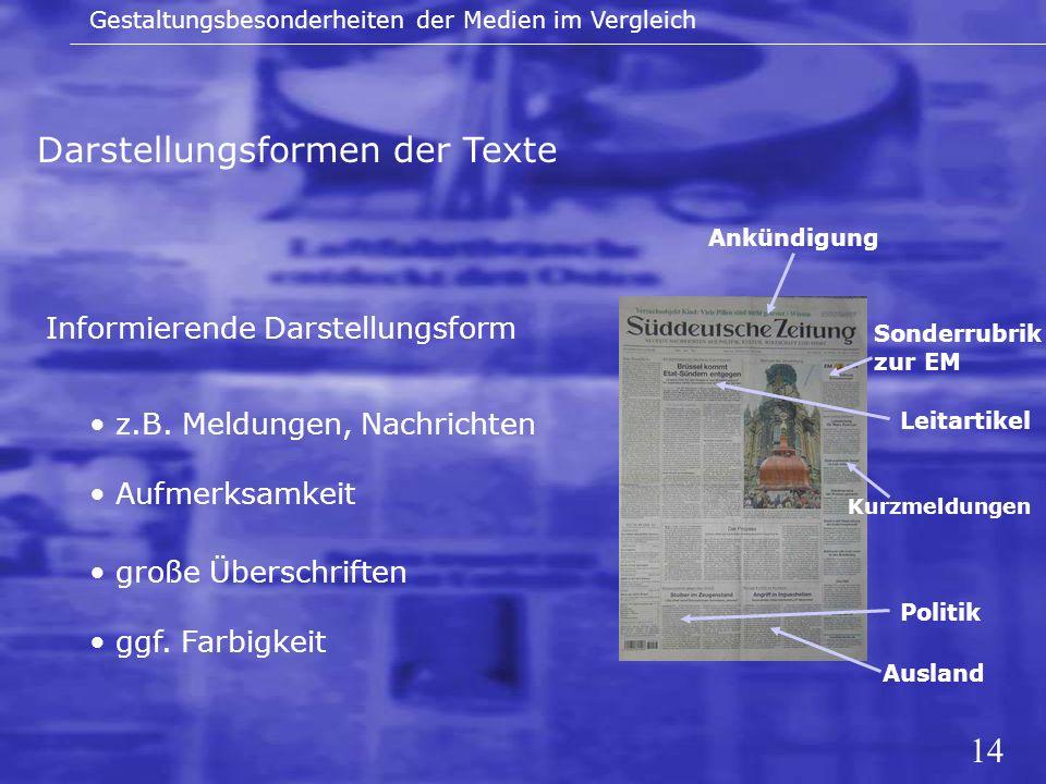 14 Darstellungsformen der Texte Gestaltungsbesonderheiten der Medien im Vergleich Informierende Darstellungsform Kurzmeldungen Ausland Politik große Ü