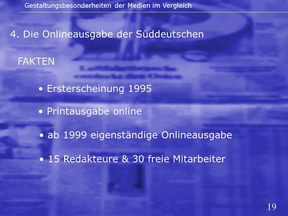 19 4. Die Onlineausgabe der Süddeutschen Gestaltungsbesonderheiten der Medien im Vergleich FAKTEN Ersterscheinung 1995 Printausgabe online ab 1999 eig