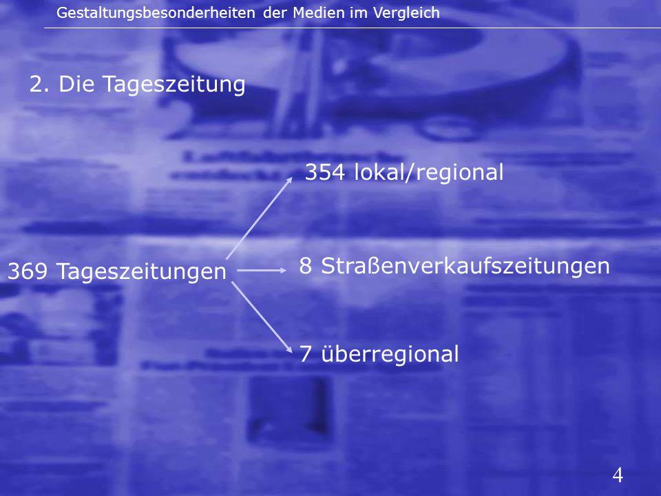 4 2. Die Tageszeitung Gestaltungsbesonderheiten der Medien im Vergleich 369 Tageszeitungen 354 lokal/regional 8 Straßenverkaufszeitungen 7 überregiona