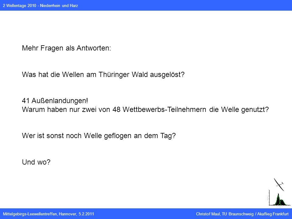 Mittelgebirgs-Leewellentreffen, Hannover, 5.2.2011 Christof Maul, TU Braunschweig / Akaflieg Frankfurt 2 Wellentage 2010 - Niederrhein und Harz Mehr Fragen als Antworten: Was hat die Wellen am Thüringer Wald ausgelöst.