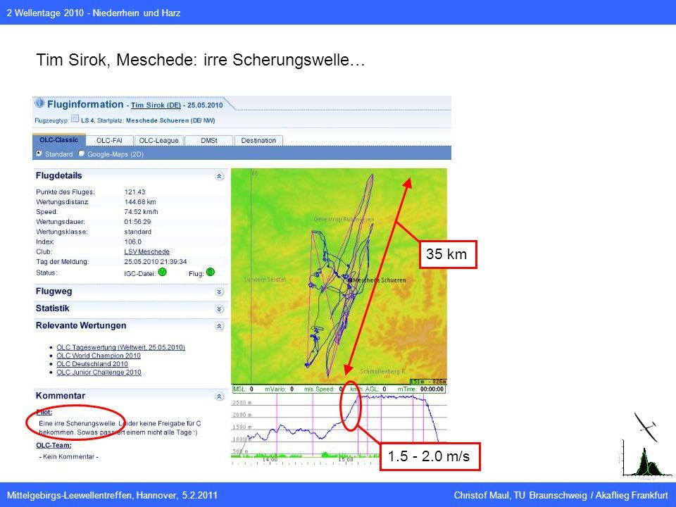 Mittelgebirgs-Leewellentreffen, Hannover, 5.2.2011 Christof Maul, TU Braunschweig / Akaflieg Frankfurt 2 Wellentage 2010 - Niederrhein und Harz Tim Sirok, Meschede: irre Scherungswelle… 1.5 - 2.0 m/s 35 km