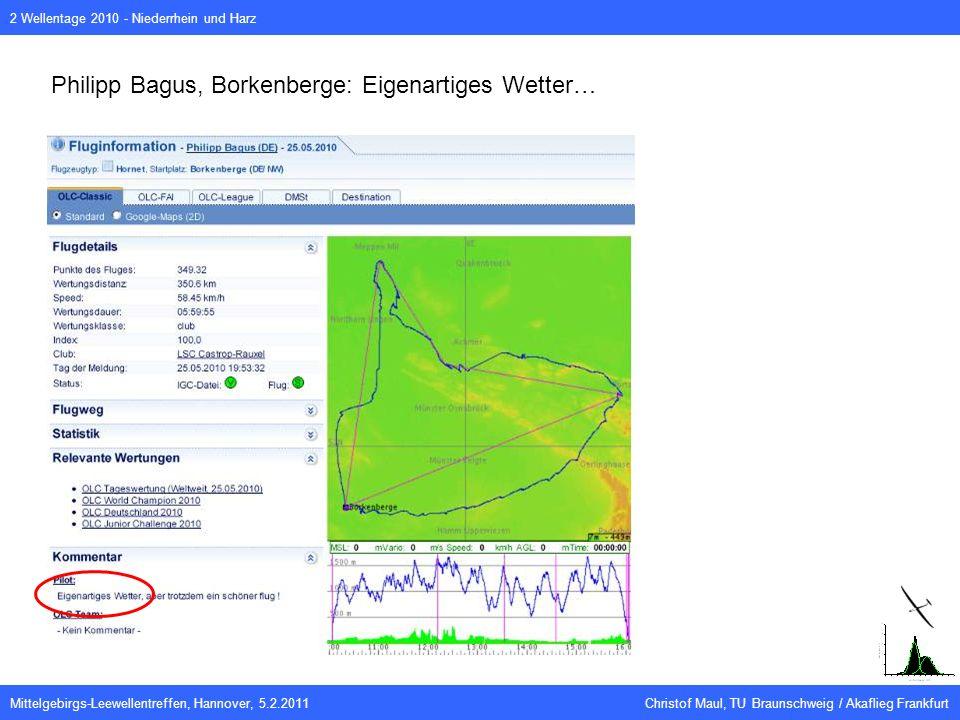 Mittelgebirgs-Leewellentreffen, Hannover, 5.2.2011 Christof Maul, TU Braunschweig / Akaflieg Frankfurt 2 Wellentage 2010 - Niederrhein und Harz Philipp Bagus, Borkenberge: Eigenartiges Wetter…