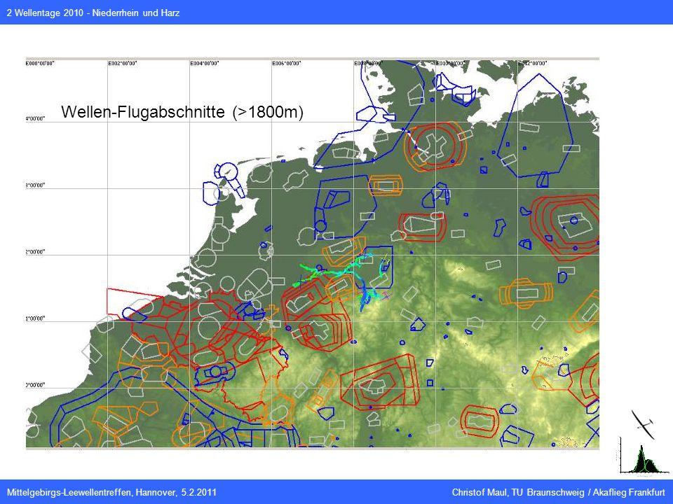 Mittelgebirgs-Leewellentreffen, Hannover, 5.2.2011 Christof Maul, TU Braunschweig / Akaflieg Frankfurt 2 Wellentage 2010 - Niederrhein und Harz Wellen-Flugabschnitte (>1800m)