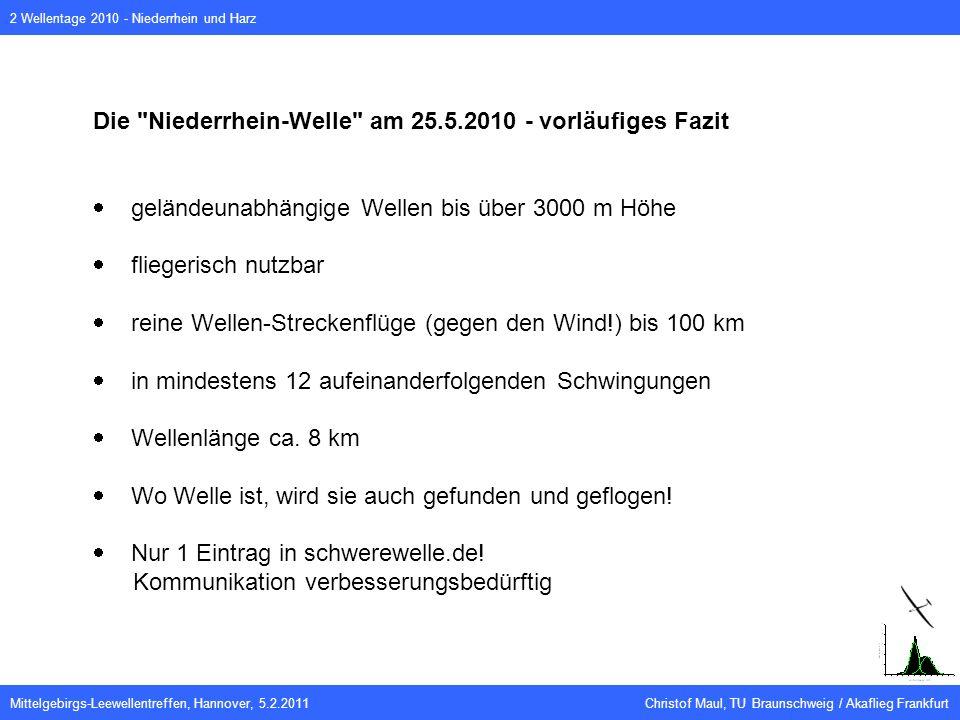 Mittelgebirgs-Leewellentreffen, Hannover, 5.2.2011 Christof Maul, TU Braunschweig / Akaflieg Frankfurt 2 Wellentage 2010 - Niederrhein und Harz Die Niederrhein-Welle am 25.5.2010 - vorläufiges Fazit geländeunabhängige Wellen bis über 3000 m Höhe fliegerisch nutzbar reine Wellen-Streckenflüge (gegen den Wind!) bis 100 km in mindestens 12 aufeinanderfolgenden Schwingungen Wellenlänge ca.