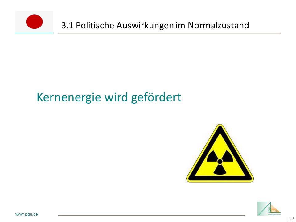 13 I www.pgu.de 3.1 Politische Auswirkungen im Normalzustand Kernenergie wird gefördert