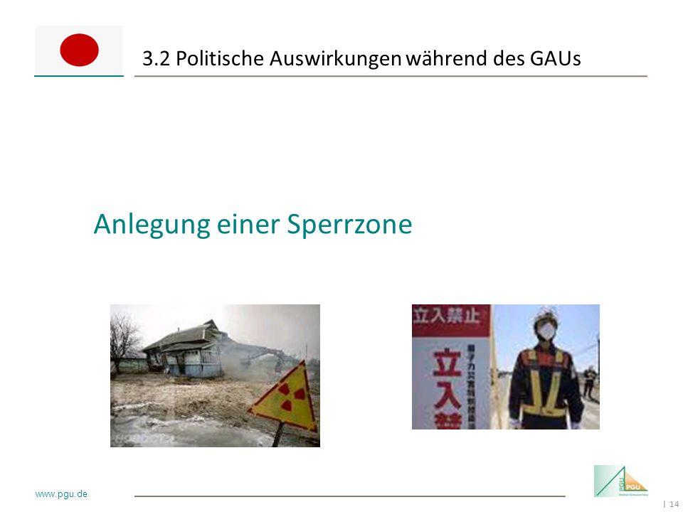 14 I www.pgu.de 3.2 Politische Auswirkungen während des GAUs Anlegung einer Sperrzone