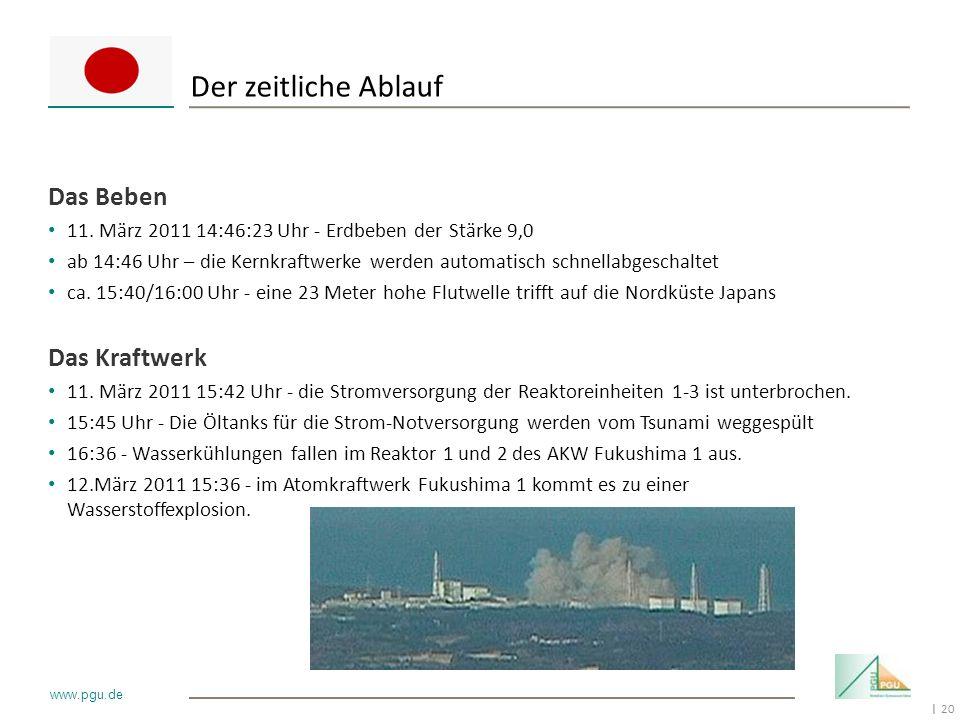 20 I www.pgu.de Hans-Georg Geis Der zeitliche Ablauf Das Beben 11. März 2011 14:46:23 Uhr - Erdbeben der Stärke 9,0 ab 14:46 Uhr – die Kernkraftwerke