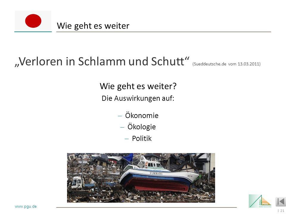 21 I www.pgu.de Wie geht es weiter Verloren in Schlamm und Schutt (Sueddeutsche.de vom 13.03.2011) Wie geht es weiter? Die Auswirkungen auf: Ökonomie
