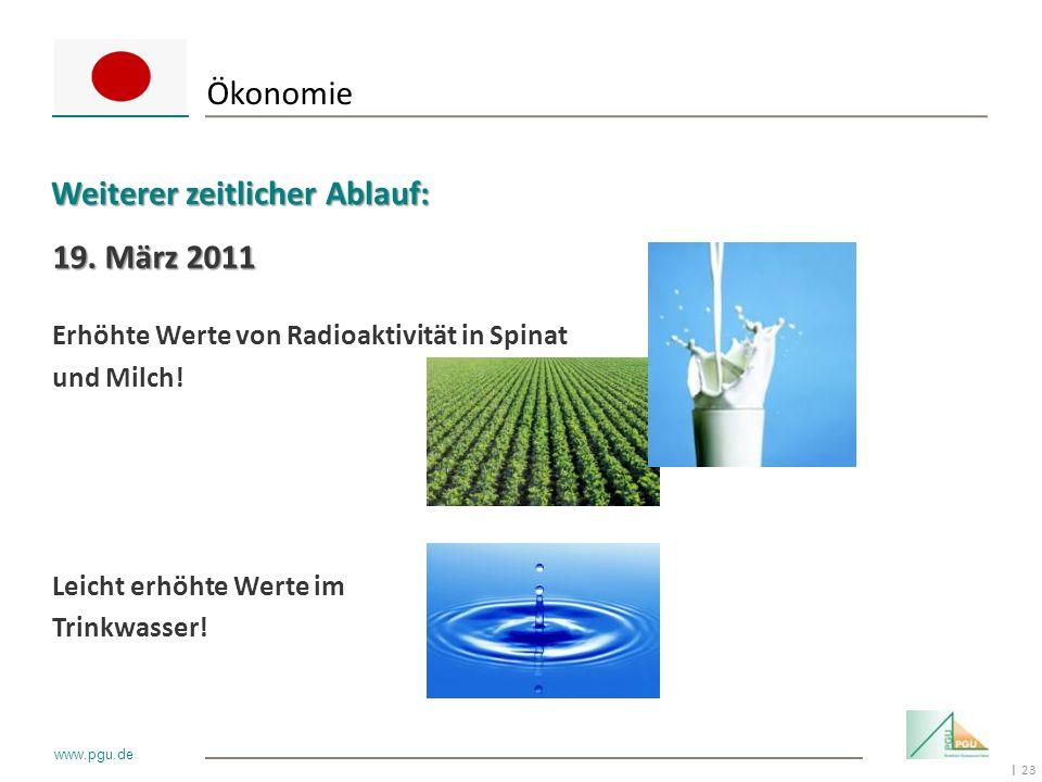 23 I www.pgu.de 19. März 2011 Erhöhte Werte von Radioaktivität in Spinat und Milch! Leicht erhöhte Werte im Trinkwasser! Ökonomie Weiterer zeitlicher
