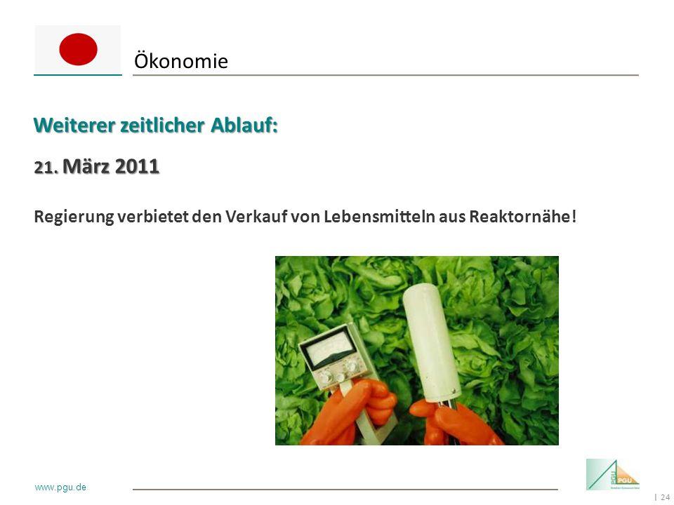 24 I www.pgu.de 21. März 2011 Regierung verbietet den Verkauf von Lebensmitteln aus Reaktornähe! Ökonomie Weiterer zeitlicher Ablauf: