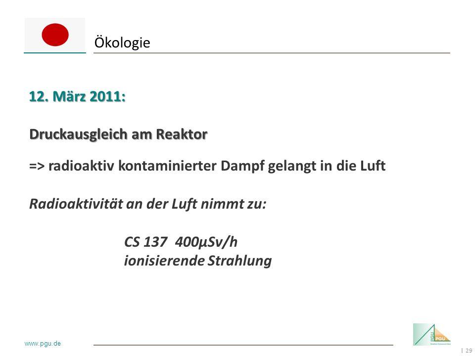 29 I www.pgu.de Ökologie 12. März 2011: Druckausgleich am Reaktor => radioaktiv kontaminierter Dampf gelangt in die Luft Radioaktivität an der Luft ni