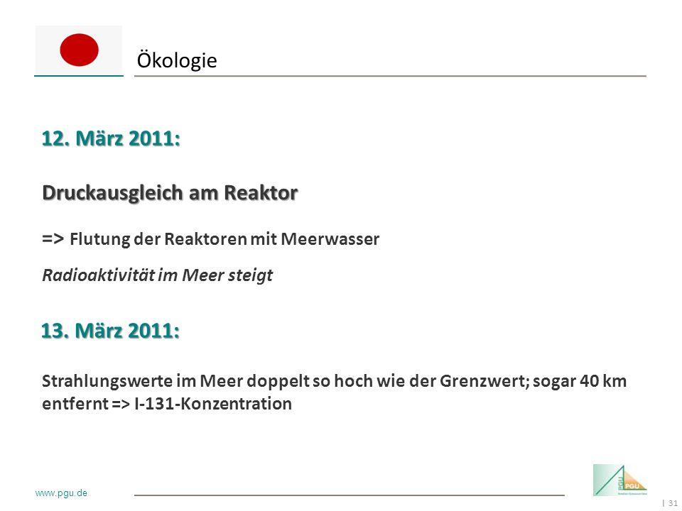 31 I www.pgu.de Ökologie 12. März 2011: Druckausgleich am Reaktor => Flutung der Reaktoren mit Meerwasser Radioaktivität im Meer steigt Strahlungswert
