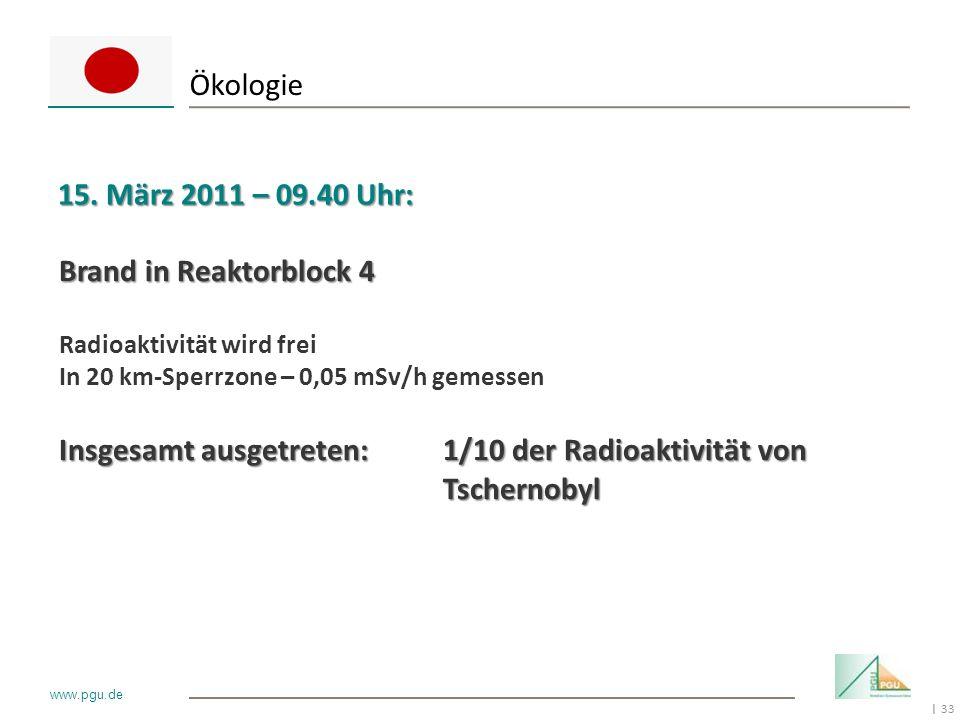 33 I www.pgu.de Ökologie 15. März 2011 – 09.40 Uhr: Brand in Reaktorblock 4 Radioaktivität wird frei In 20 km-Sperrzone – 0,05 mSv/h gemessen Insgesam