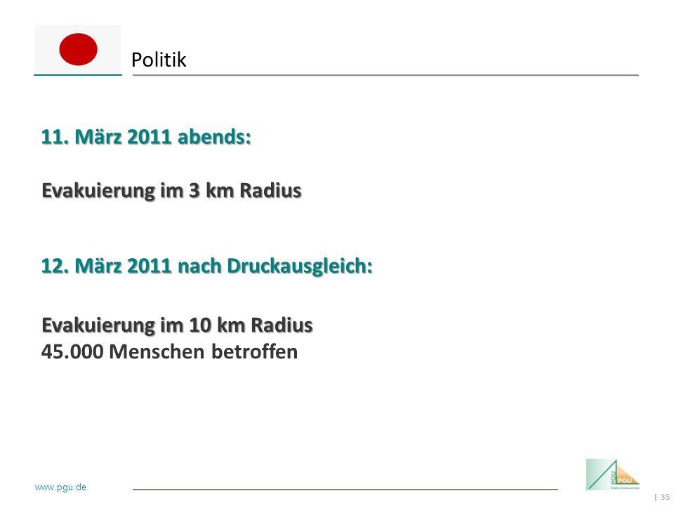 35 I www.pgu.de Politik 11. März 2011 abends: 12. März 2011 nach Druckausgleich: Evakuierung im 3 km Radius Evakuierung im 10 km Radius 45.000 Mensche