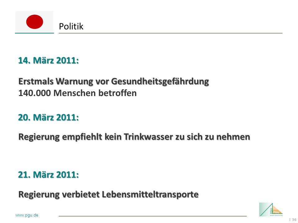 36 I www.pgu.de Politik 14. März 2011: 20. März 2011: 21. März 2011: Erstmals Warnung vor Gesundheitsgefährdung 140.000 Menschen betroffen Regierung e