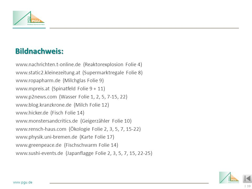 39 I www.pgu.de Bildnachweis: www.nachrichten.t-online.de (Reaktorexplosion Folie 4) www.static2.kleinezeitung.at (Supermarktregale Folie 8) www.ropap