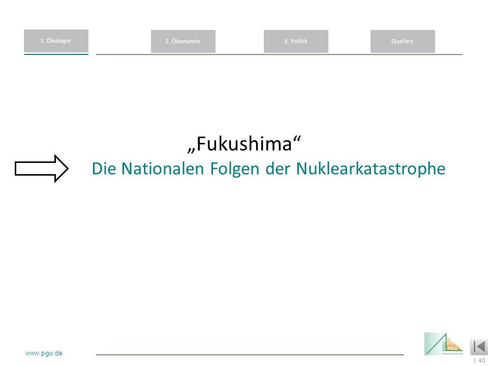 40 I www.pgu.de Fukushima Die Nationalen Folgen der Nuklearkatastrophe 1. Ökologie 2. Ökonomie3. PolitikQuellen
