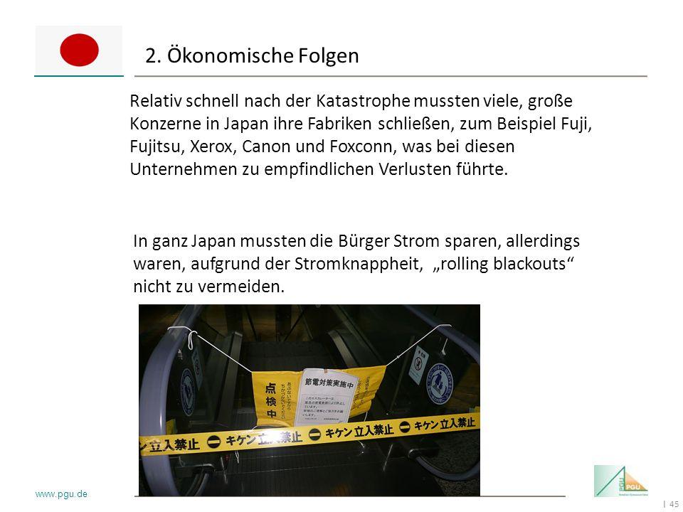 45 I www.pgu.de 2. Ökonomische Folgen Relativ schnell nach der Katastrophe mussten viele, große Konzerne in Japan ihre Fabriken schließen, zum Beispie