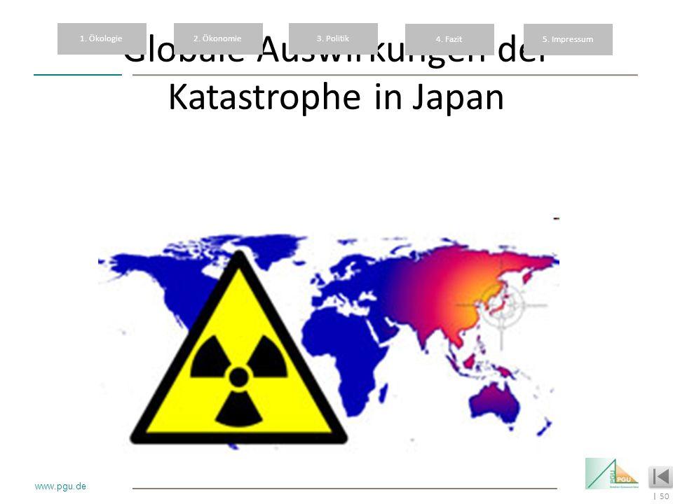 50 I www.pgu.de Globale Auswirkungen der Katastrophe in Japan 1. Ökologie2. Ökonomie3. Politik 4. Fazit5. Impressum