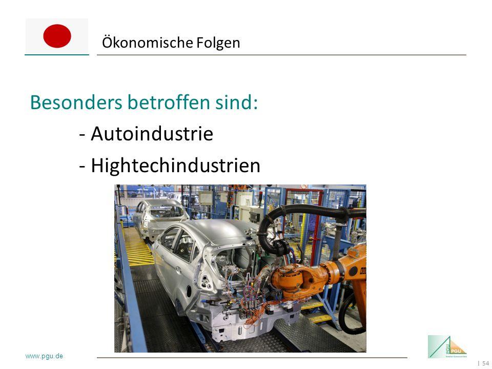 54 I www.pgu.de Ökonomische Folgen Besonders betroffen sind: - Autoindustrie - Hightechindustrien