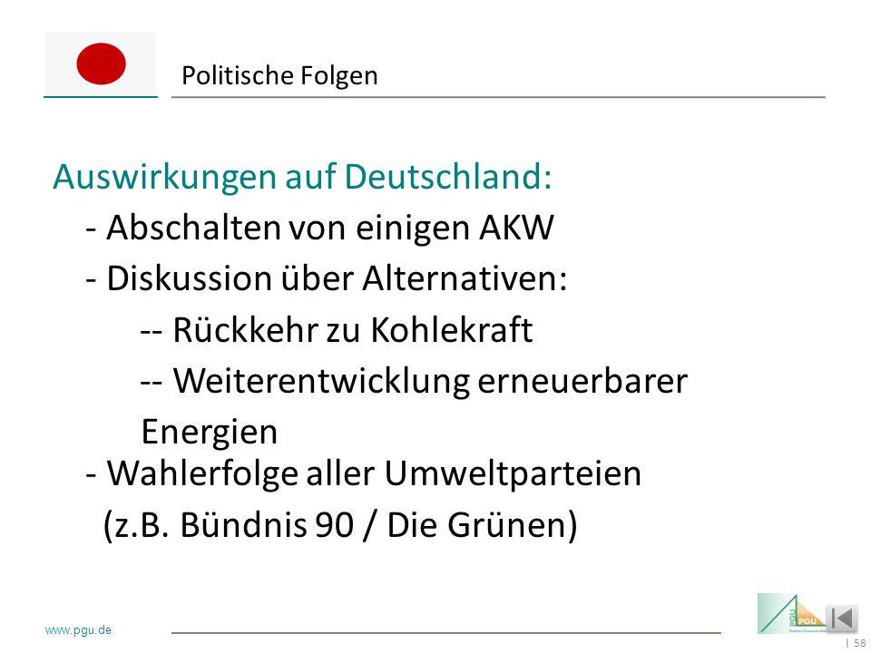 58 I www.pgu.de Politische Folgen Auswirkungen auf Deutschland: - Abschalten von einigen AKW - Diskussion über Alternativen: -- Rückkehr zu Kohlekraft
