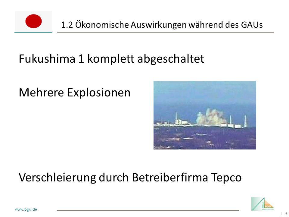 6 I www.pgu.de 1.2 Ökonomische Auswirkungen während des GAUs Fukushima 1 komplett abgeschaltet Mehrere Explosionen Verschleierung durch Betreiberfirma