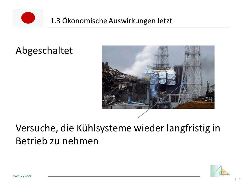7 I www.pgu.de 1.3 Ökonomische Auswirkungen Jetzt Abgeschaltet Versuche, die Kühlsysteme wieder langfristig in Betrieb zu nehmen