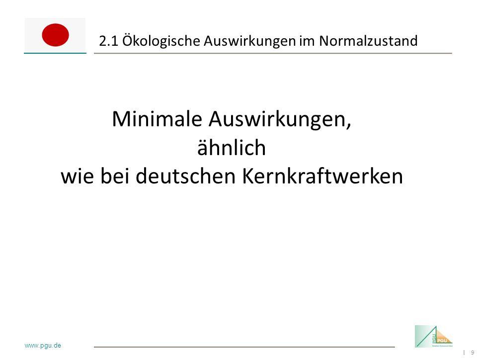 9 I www.pgu.de 2.1 Ökologische Auswirkungen im Normalzustand Minimale Auswirkungen, ähnlich wie bei deutschen Kernkraftwerken
