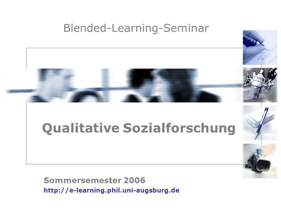 Blended-Learning-Seminar Sommersemester 2006 http://e-learning.phil.uni-augsburg.de Qualitative Sozialforschung